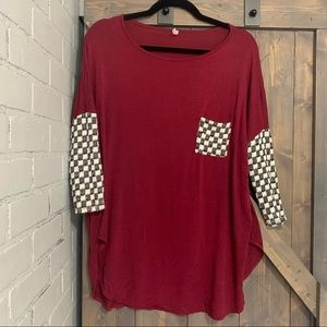 Auditions Burgundy blouse with checker accents